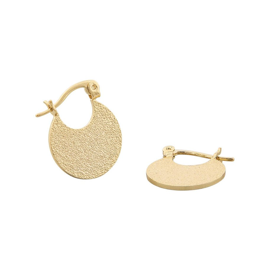 Snö of Sweden Lynx Small Round Earring, Plain Gold