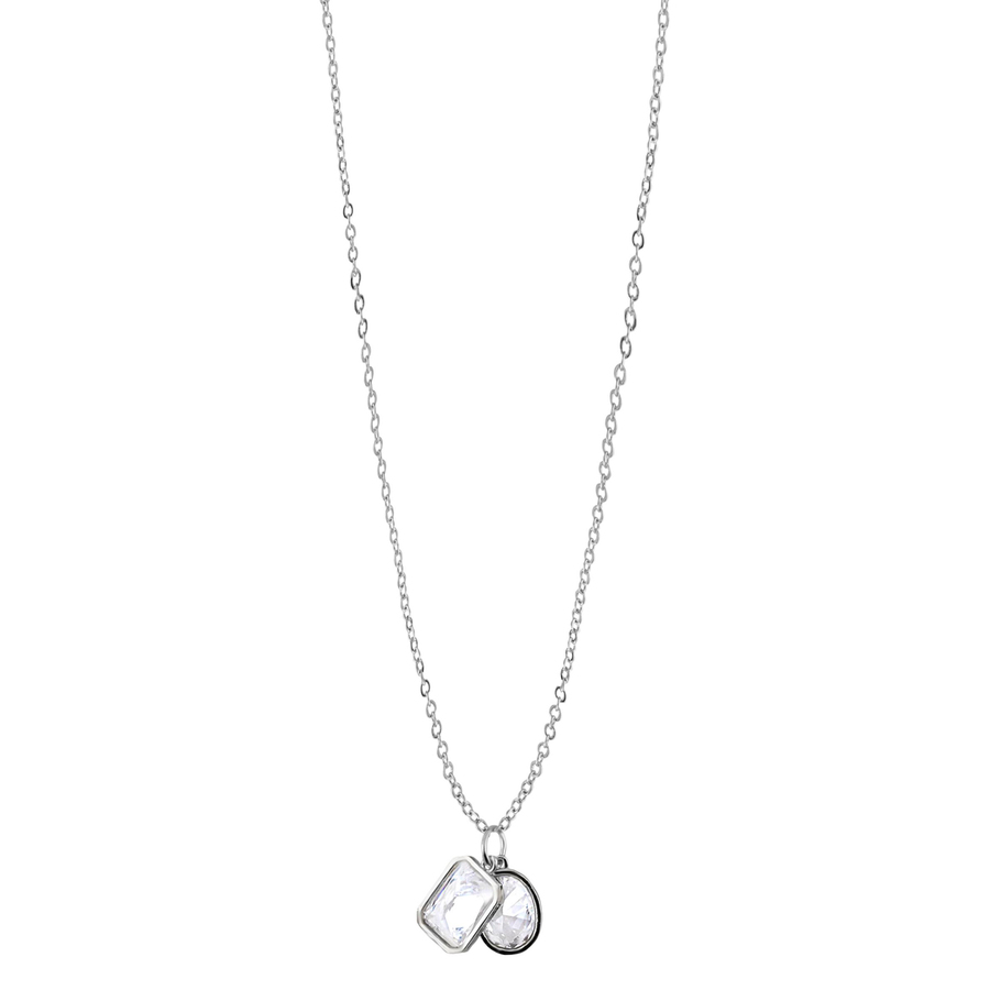 Snö of Sweden Twice Pendant Neckless, Silver/Clear