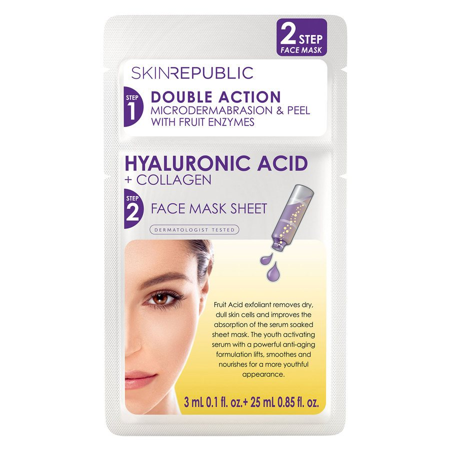 Skin Republic 2 Step Hyaluronic Acid + Collagen Face Mask